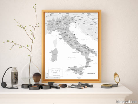Personalized map of Italy, canvas print or push pin map in grayscale