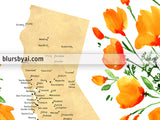 Custom map print: map of California with cities and California poppies