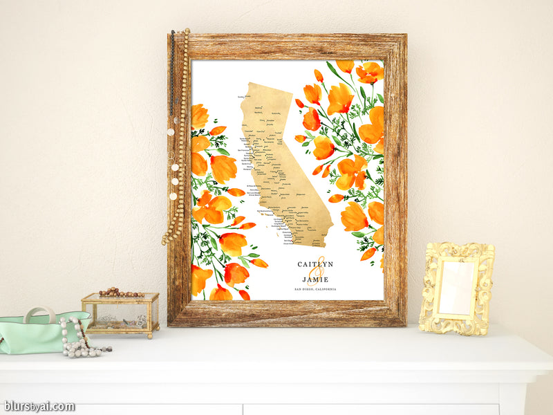 Custom printable map of California with cities and watercolor California poppies