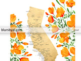 Personalized map of California with cities and California poppies, canvas print or push pin map