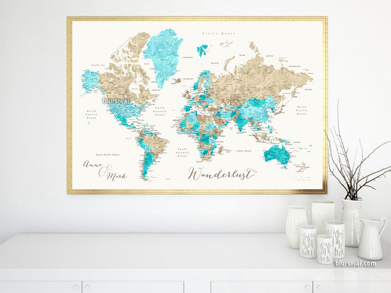 World map printable file in brown and aquamarine watercolor