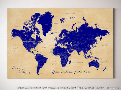 "Custom world map with cities, canvas print or push pin map in navy blue and tan. ""Korinne"""