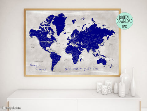 "Personalized printable world map with cities in navy blue and distressed gray. ""Delaney"""