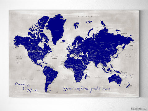 "Personalized world map with cities, canvas print or push pin map in navy blue. ""Delaney"""