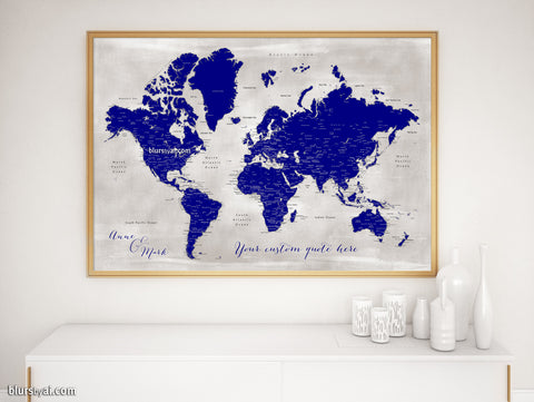 "Personalized map print: world map with cities in navy blue and distressed grey. ""Delaney"""