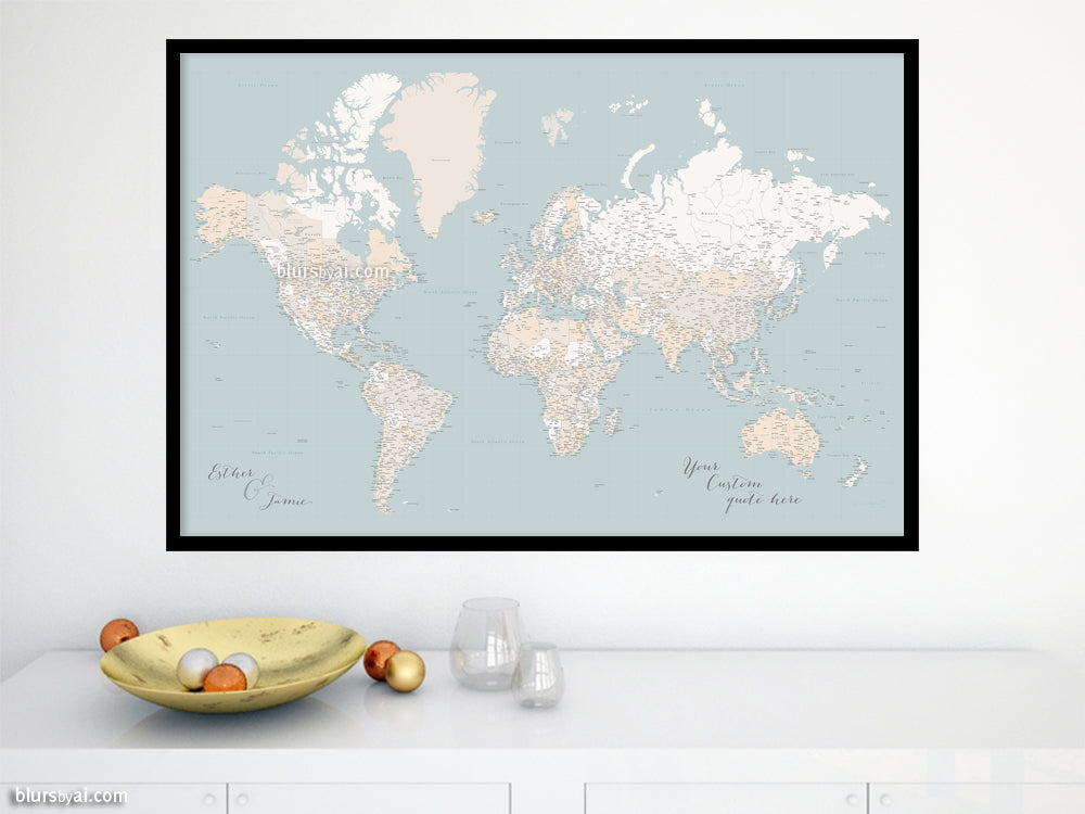 "Custom world map print - highly detailed map with cities in muted mint and beige. ""Tiara"""