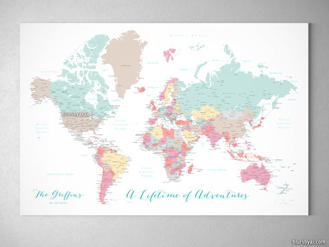 "Personalized world map with cities, canvas print or push pin map in pastels. ""Pretty pastels"""