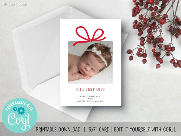 Personalized printable Christmas photo card: minimal gift baby announcement - Edit with Corjl