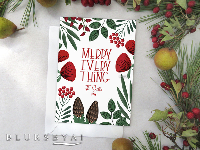 Personalized printable Christmas card: scandinavian botanicals - Edit with Corjl