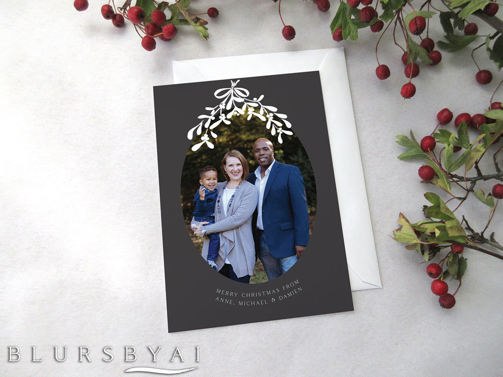 Custom printable Holiday photo card with mistletoe