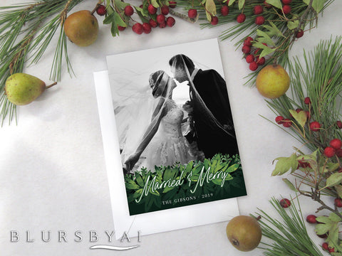 Personalized printable Christmas photo card: watercolor greenery garland - Edit with Corjl