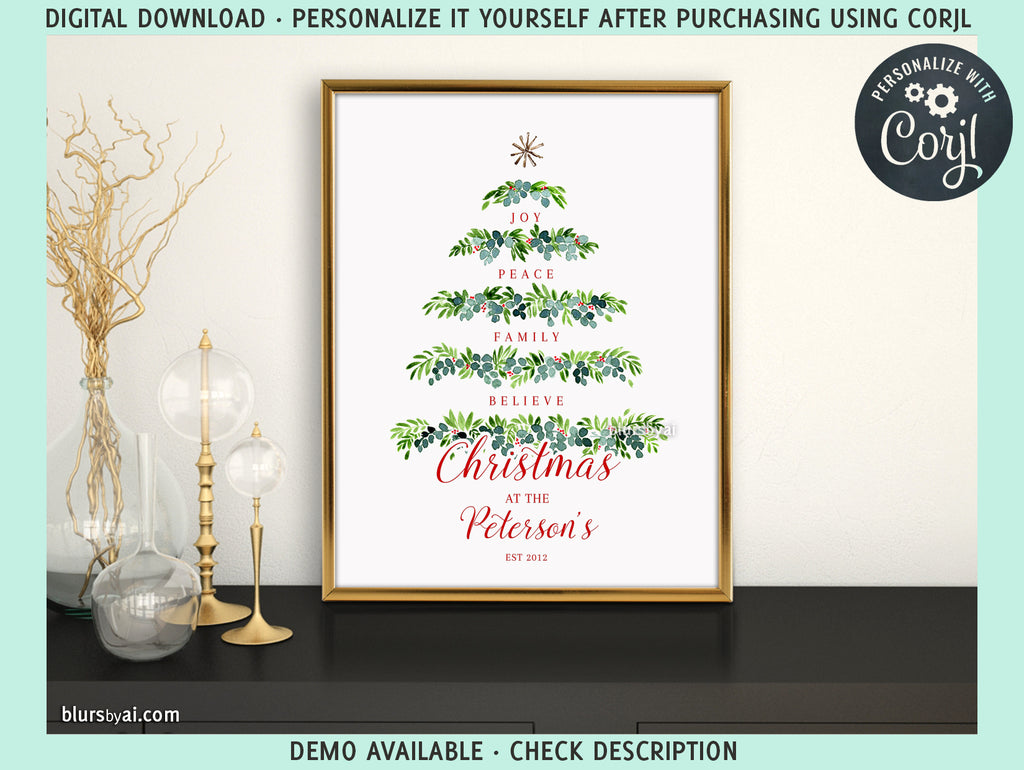"Personalized PRINTABLE holiday decor, ""Greenery tree of words"" - Edit with Corjl"