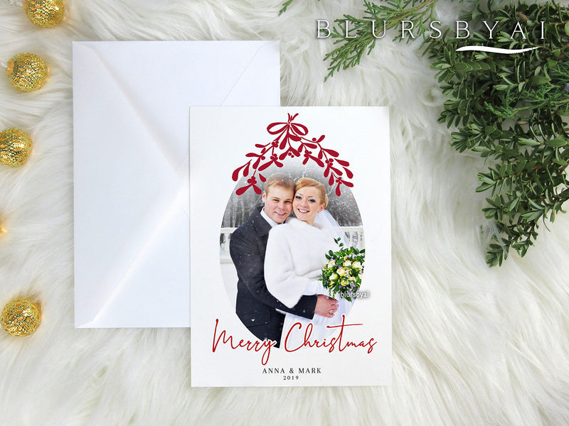 Personalized printable Christmas photo card: under the mistletoe - Edit with Corjl