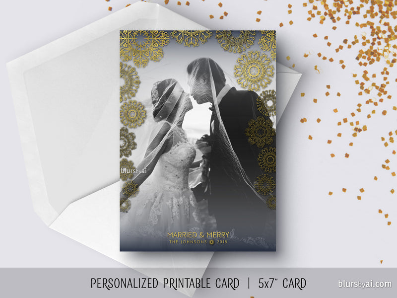 Custom printable Holiday photo card with lace snowflakes