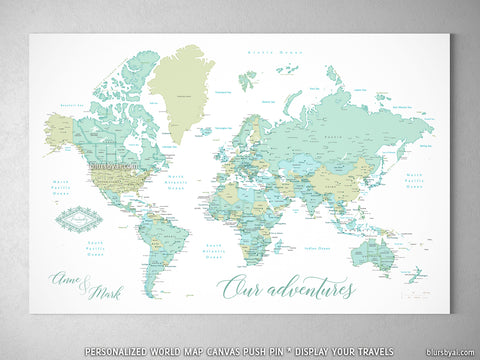 "Personalized world map with cities, canvas print or push pin map in dreamy mint and green. ""Ninfa"""