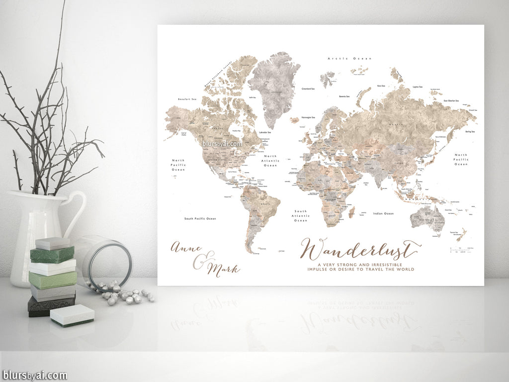 Personalized World Map With Countries States Canvas Print Or Push - World map to mark travels