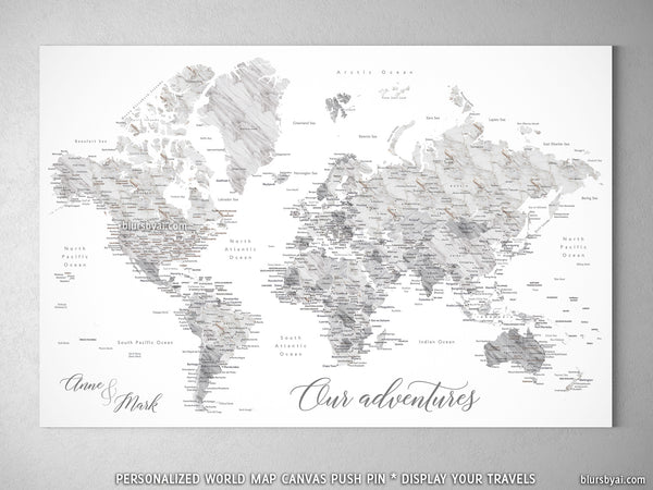 Custom Marble Effect World Map With Cities Canvas Print Or Push Pin