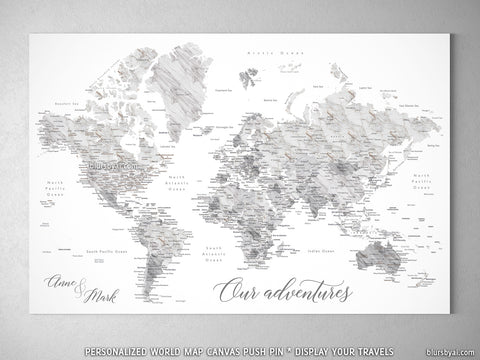 "Personalized marble effect world map with cities canvas print or push pin map. ""Clare"""