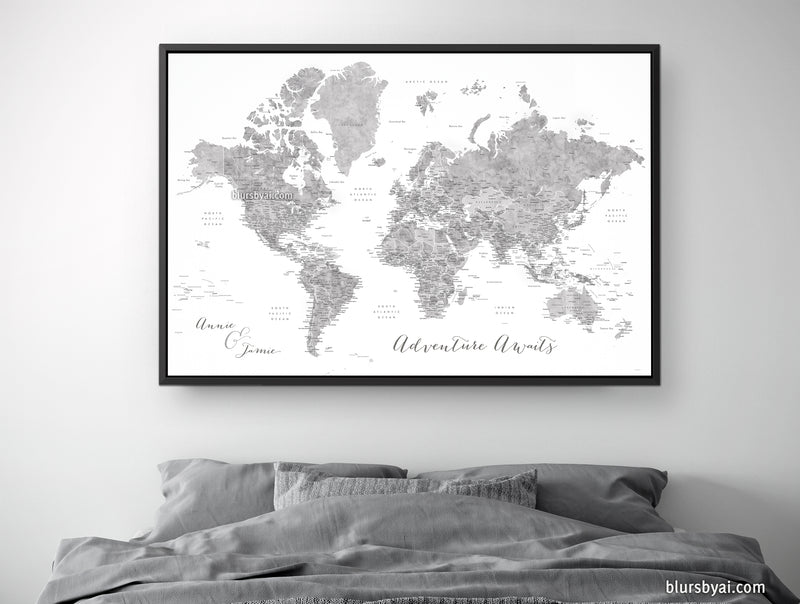 "Custom world map with US state capitals, cities, states and countries, canvas print or push pin map in grayscale watercolor . ""Jimmy"""