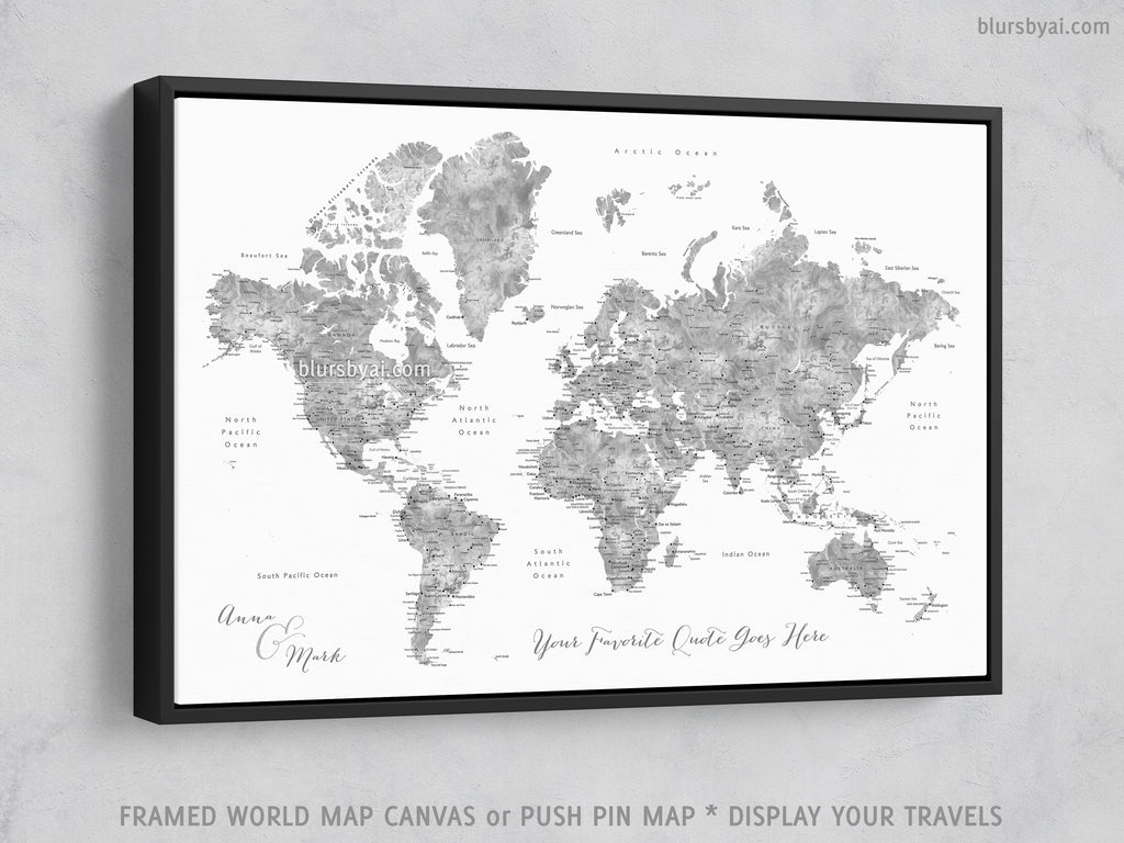 "Custom world map with cities, canvas print or push pin map in grayscale watercolor. ""Jimmy"""