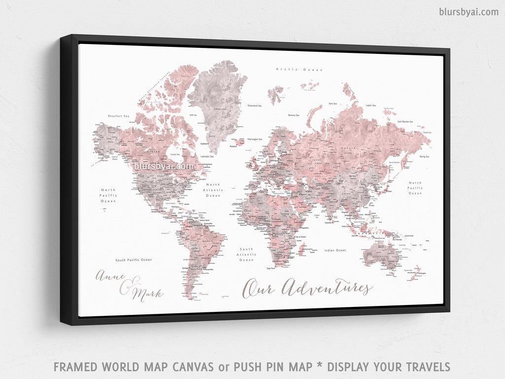 Custom World Map With Cities Canvas Print Or Push Pin Map In Dusty