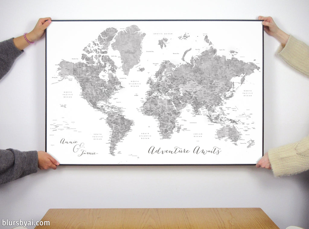 "Art print on paper: custom world map with state capitals, cities and countries in grayscale watercolor. ""Jimmy"""