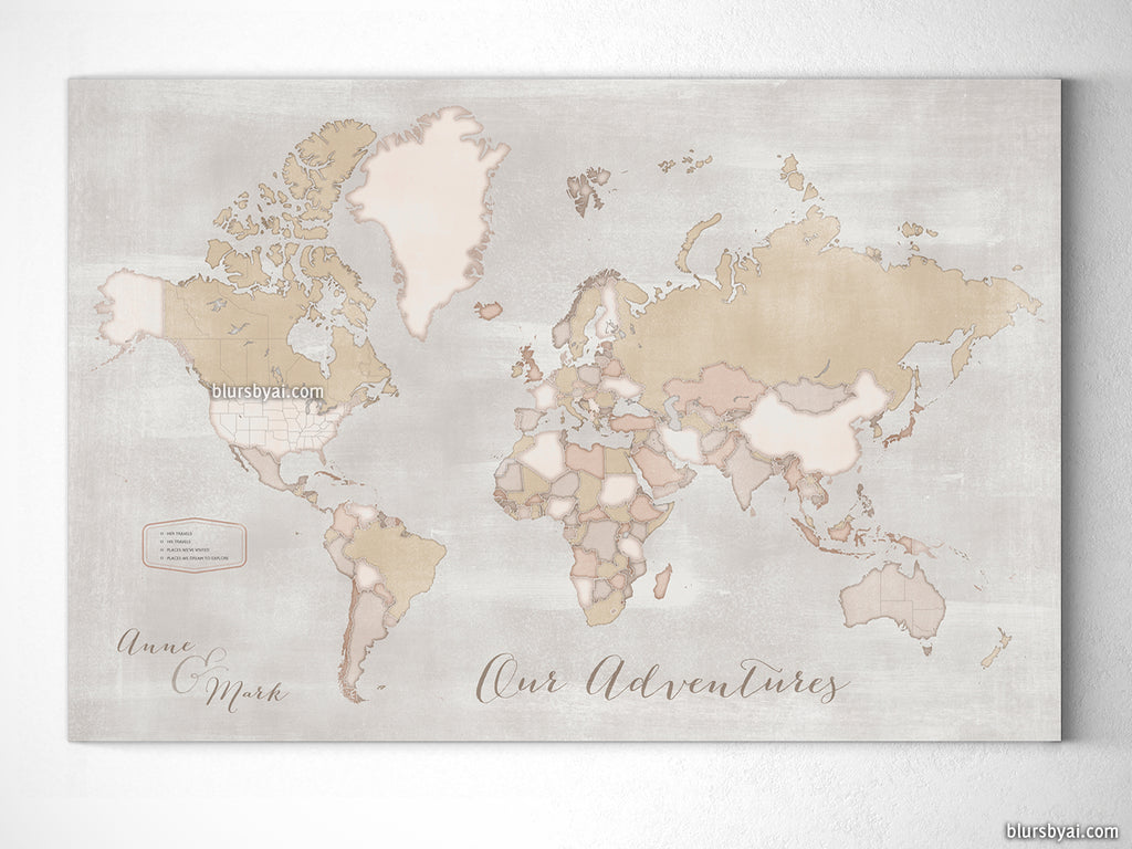 small personalized rustic world map canvas print or push pin map 12x9