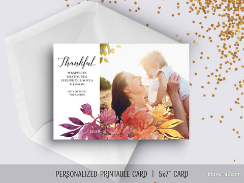 Custom printable Thanksgiving photo card with ombre watercolor flowers