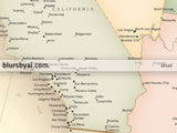 "Personalized print: map of the United States with cities in vintage style. ""Librarian"""