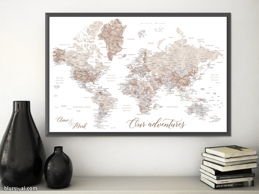 "Custom print: world map with cities in neutral watercolor. ""Abey"""