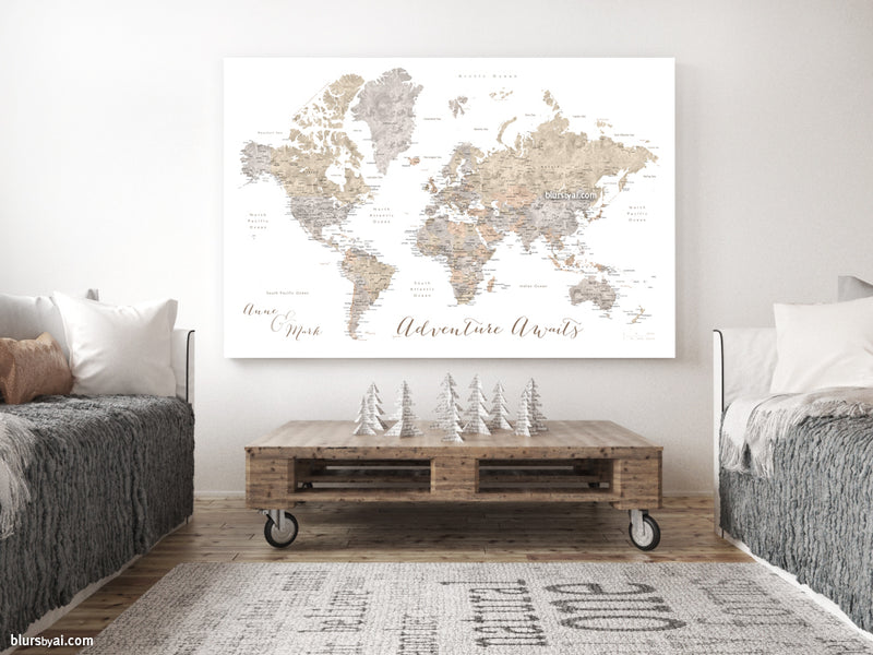 "Custom watercolor world map with cities, canvas print or push pin map in neutrals. ""Abey"""