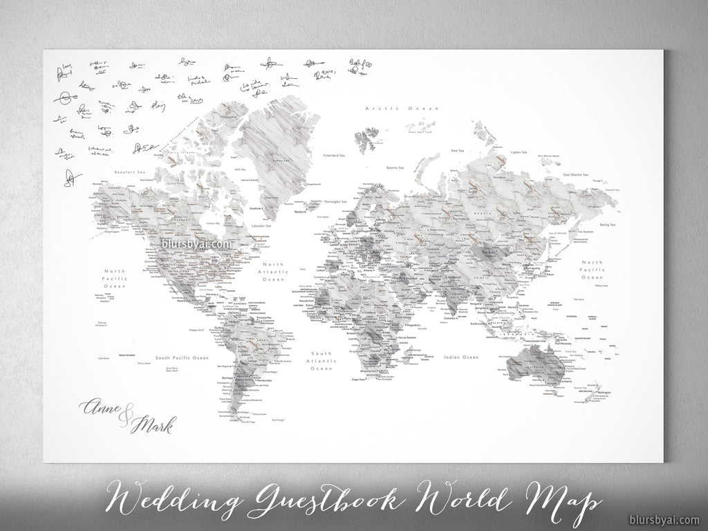 Wedding guestbook map custom marble effect world map with cities wedding guestbook map custom marble effect world map with cities canvas print or push pin gumiabroncs Image collections