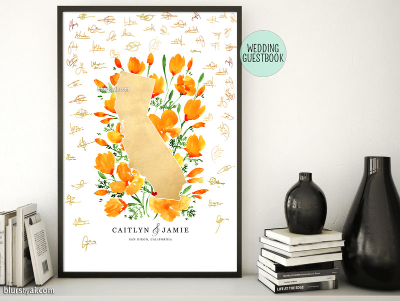 Custom printable map of California with watercolor California poppies