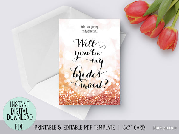 graphic regarding Printable Will You Be My Bridesmaid known as Editable pdf template: will yourself be my bridesmaid card within just rose gold glitter