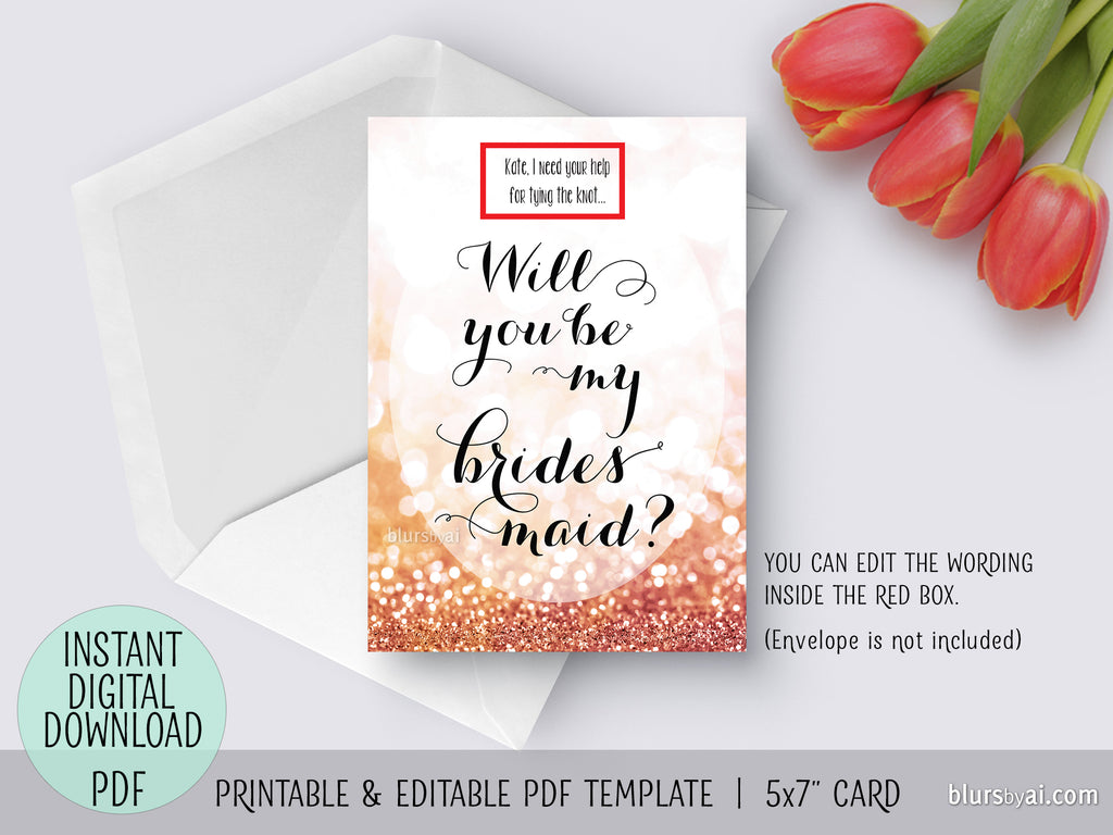 Editable pdf template: will you be my bridesmaid card in rose gold glitter