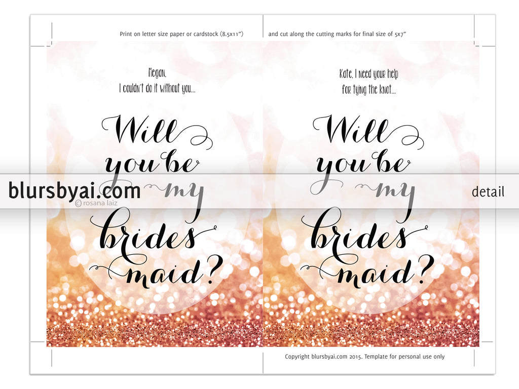 Editable Pdf Template Will You Be My Bridesmaid Card In Rose Gold - Will you be my bridesmaid letter template