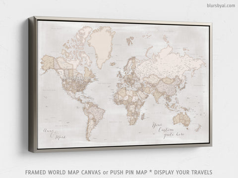 "Personalized large & highly detailed, rustic world map canvas print or push pin map. ""Lucille"""