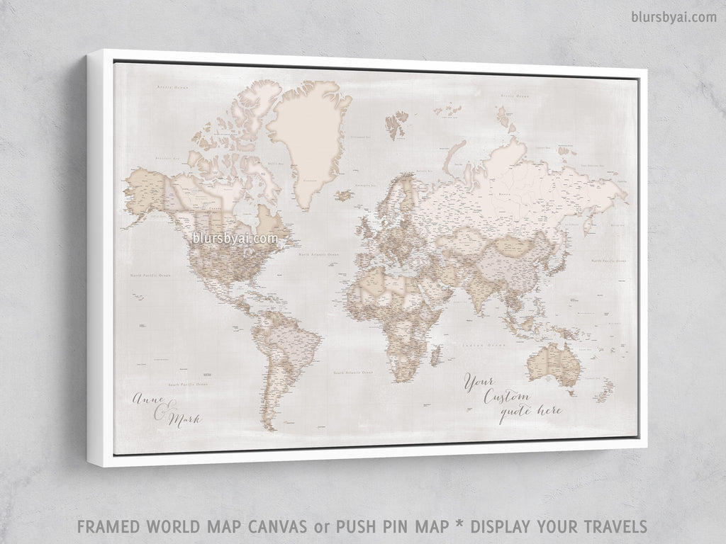 Custom large & highly detailed, rustic world map canvas print or push pin  map. \