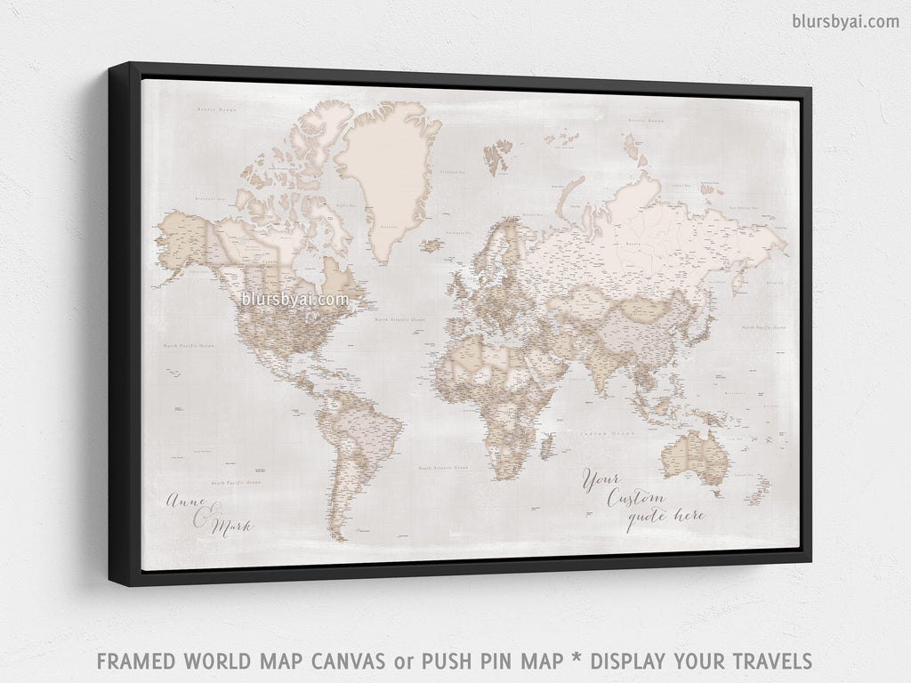 Custom Large Highly Detailed Rustic World Map Canvas Print Or