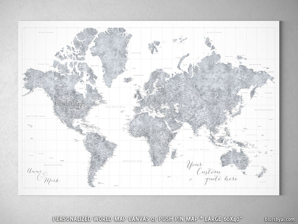 Map Of The World Detailed.Custom Large Highly Detailed World Map Canvas Print Or Push Pin Map Grayscale Watercolor Jimmy
