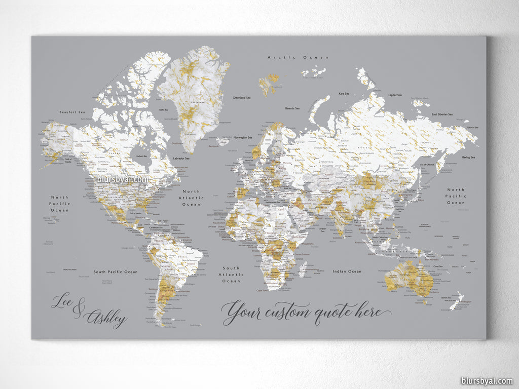 Personalized marble world map canvas print or push pin map reagan reagan personalized marble world map canvas print or push pin map gumiabroncs Images