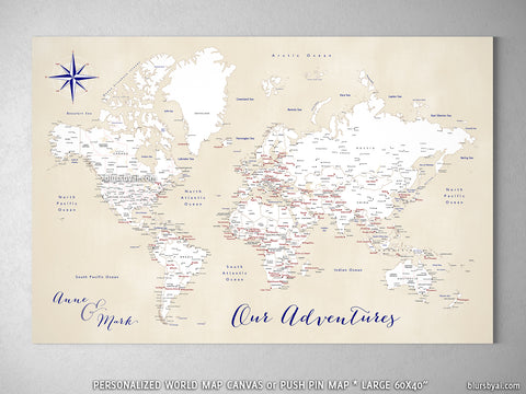 "Personalized world map with cities, canvas print or push pin map in vintage cream and white. ""Deuce"""