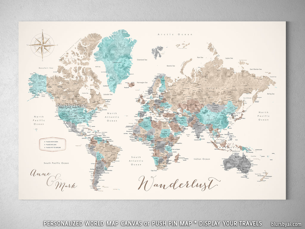 "Custom world map with cities, canvas print or push pin map in beige, brown, aquamarine and grey. ""Romy"""