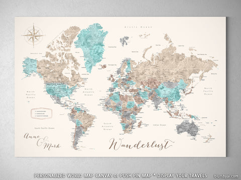 Map prints world maps with main cities capitals countries and personalized world map with cities canvas print or push pin map in beige brown gumiabroncs Images