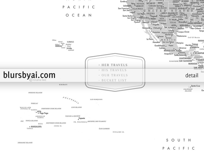 "Personalized PRINTABLE world map with cities, ""Granit"", edit-it-yourself using CORJL - Instant download for PERSONAL USE"
