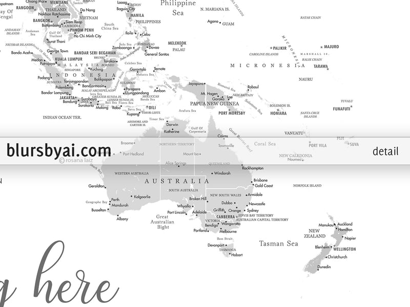 "Personalized PRINTABLE world map with cities, ""Granit"", edit-it-yourself using CORJL - Instant download"
