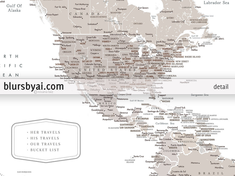 "Personalized PRINTABLE world map with cities, ""Octavius"", edit-it-yourself using CORJL - Instant download for PERSONAL USE"