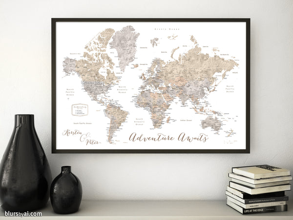 "Personalized print: world map with cities in taupe, cream and grey neutral watercolor. ""Abey"""