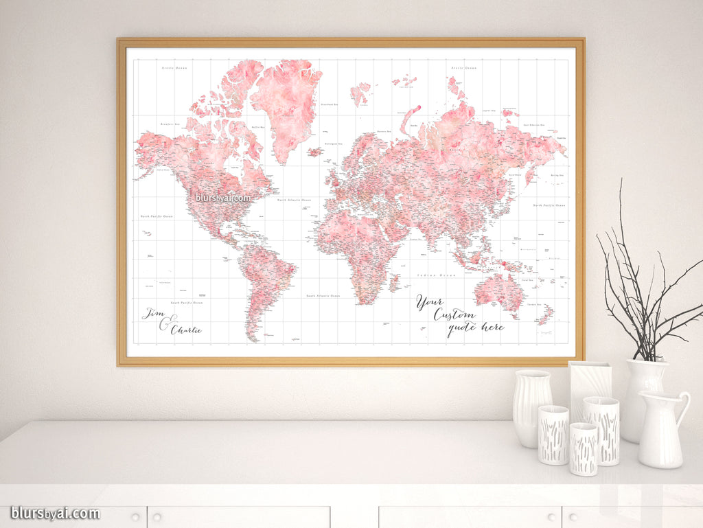 "Custom world map print - blush watercolor highly detailed map with cities. ""Alheli"""