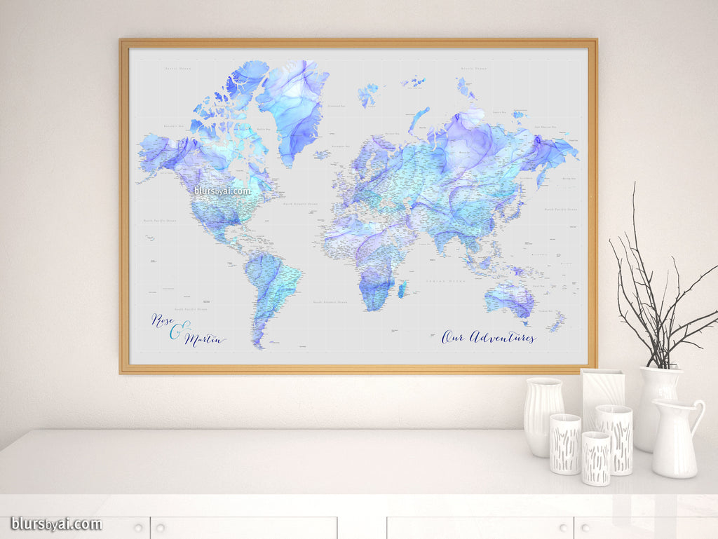 "Custom world map print - highly detailed map with cities in fluid alcohol ink style. ""Arella"""